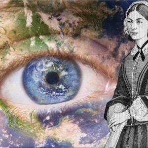 Eye with Globe Background and Florence Nightingale in foreground